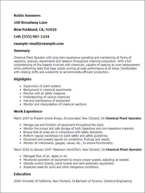 Chemical Process Operator Cover Letter by Professional Chemical Plant Operator Templates To Showcase Your Talent Myperfectresume