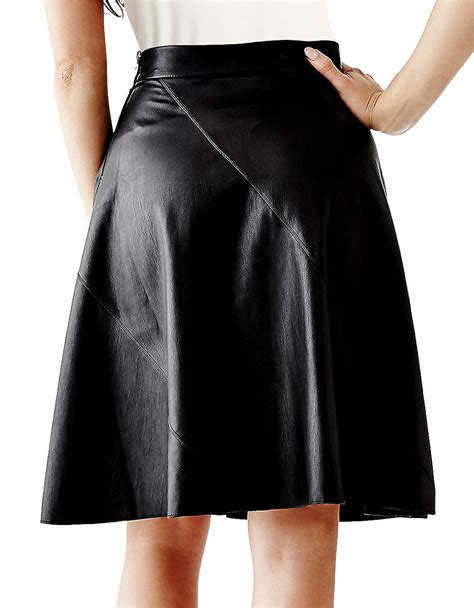 leather swing guess faux leather swing skirt in black lyst