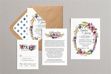 free printable wedding invitation watercolor printable wedding invitation set laurel wreath floral