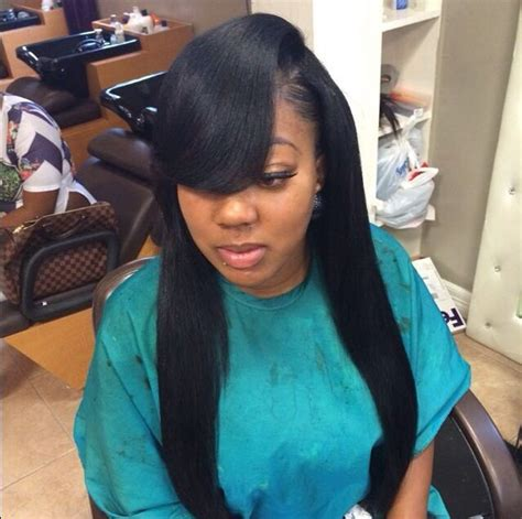 pics of sew ins with bangs and long hair in the back gorgeous side part bang sew in weaves and extensions