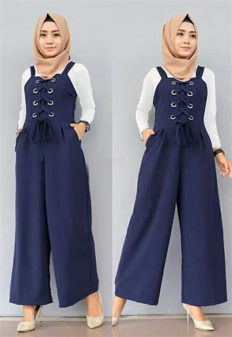 Setelan Baju Wanita Navy setelan baju jumpsuit panjang muslim model terbaru