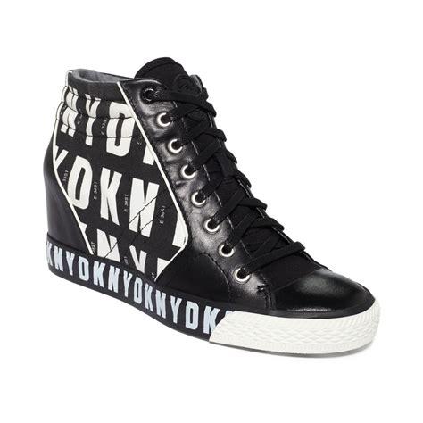 dkny wedge sneakers on sale dkny wedge sneakers in black black hq print lyst