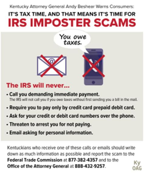 attorney general warns of irs scams during tax season