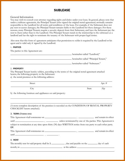 7 8 Sublet Agreement Format Resumetablet Sublease Agreement Template Colorado