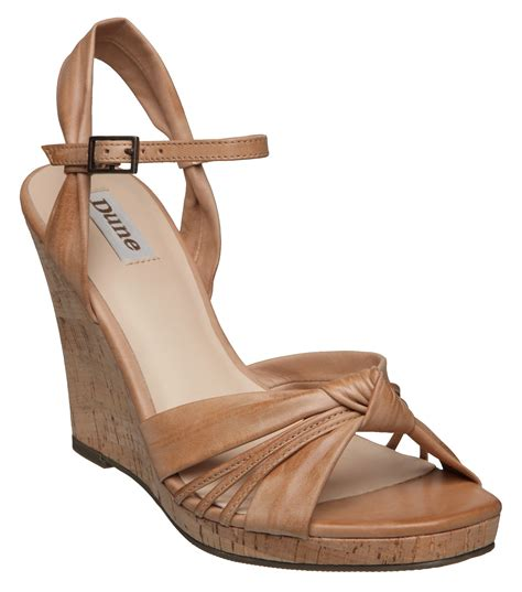 dune grand d soft knot cork wedge sandals in brown lyst