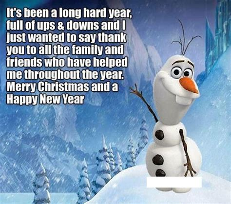 long hard year merry christmas  happy  year olaf quote pictures