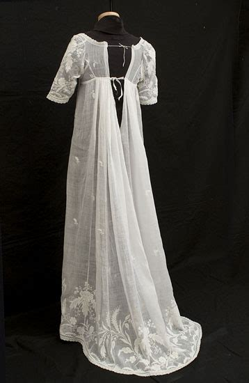 Sheer white muslin gown with whitework embroidery image vintage