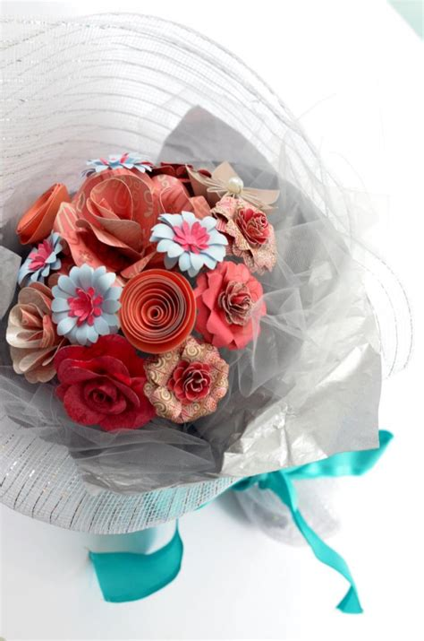Handmade Bouquet - handmade paper flower bouquet in gift wrap pink 2427543
