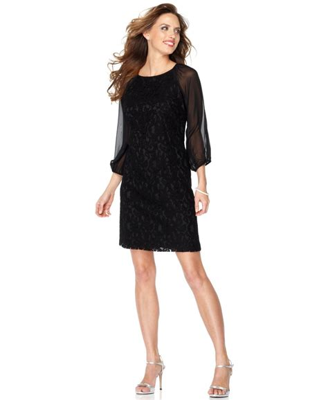 adrianna papell  lace overlay sheer  bishop sleeves