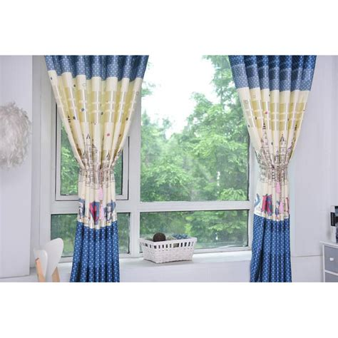 short bay window curtains blue polka dot color block polyester short bay window curtains