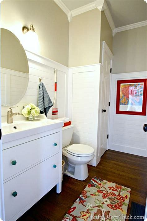 a pretty white powder room with diy planked walls home sweet home