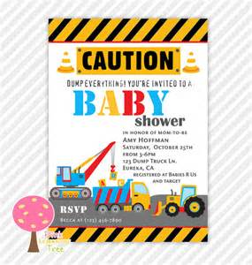 Construction Baby Shower Invitations by Construction Baby Shower Invitation Construction Trucks