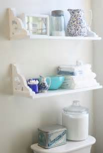 vintage inspired diy bathroom shelves