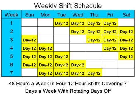 12 Hour Shift Schedule Template 12 week schedule template calendar template 2016