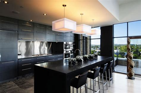 modern black kitchen modern kitchen design with cabinets 2016