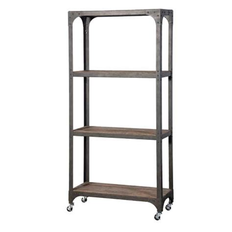 botanico 3 tier industrial style shelving unit on wheels