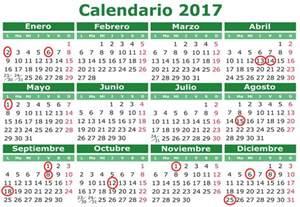 Calendario 2018 Dias Festivos Calendario Laboral 2017