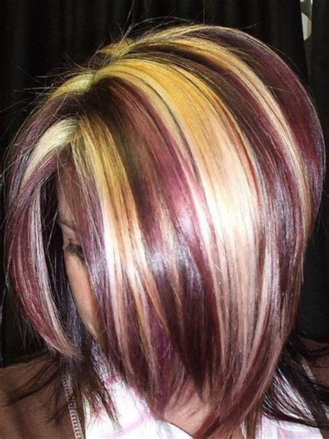 what red highlights look like in blonde streaked hair love these chunks of blonde streaks with burgundy