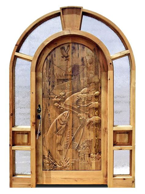 Carved Front Doors Custom Doors Carved Wood Front Entry Doors Fishing Theme Ahşap Oyma Doors