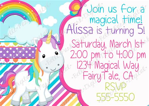 free printable unicorn invitation birthday invites cute 10 unicorn birthday invitations for