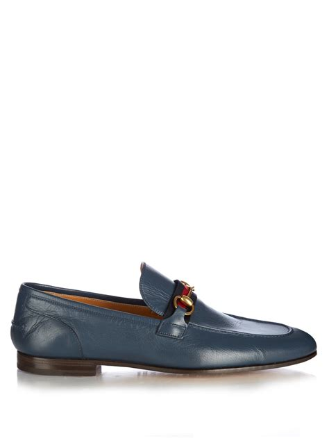 blue loafers lyst gucci horsebit leather loafers in blue for