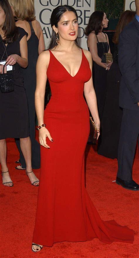 red dress salma hayek  dresses evening long