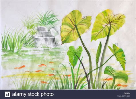 Lotus Leaf Original 30pcs watercolor painting of green lotus leaves on a pond with fishes stock photo royalty free