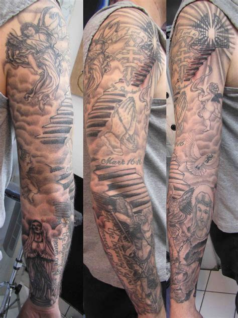 angel tattoo sleeves fallen sleeve images designs