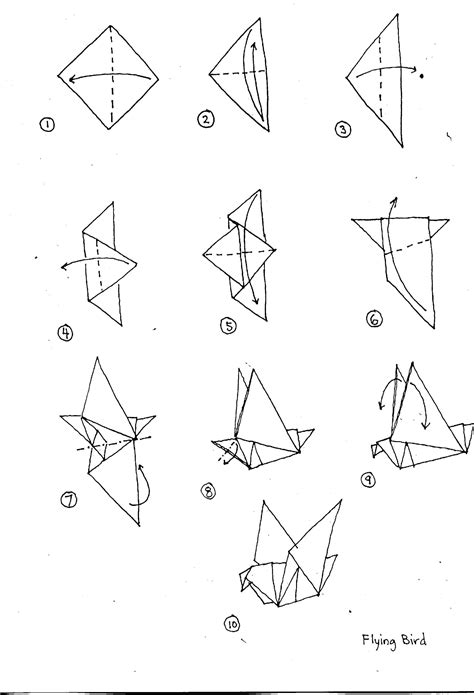 how to make origami birds easy 6 best images of origami bird diagrams origami animal
