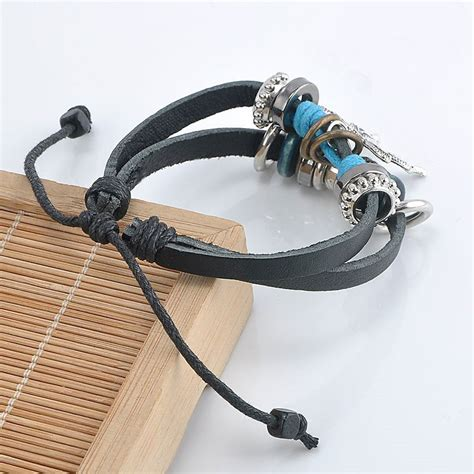 Handmade Bracelets Australia - handmade pu leather bracelet black buttefly tribal blue