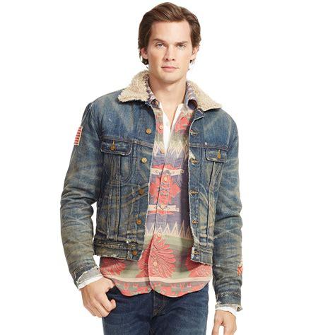 Bbb New Vintage Denim Jacket Intl polo ralph faux shearling denim jacket in blue for lyst