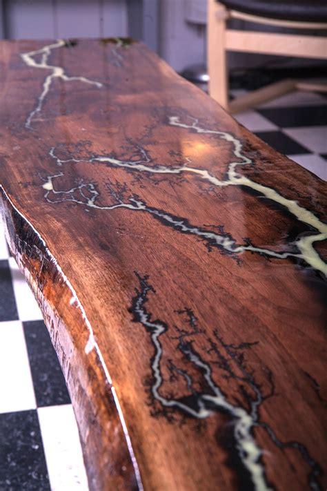 edge walnut table  glowing lichtenberg figure