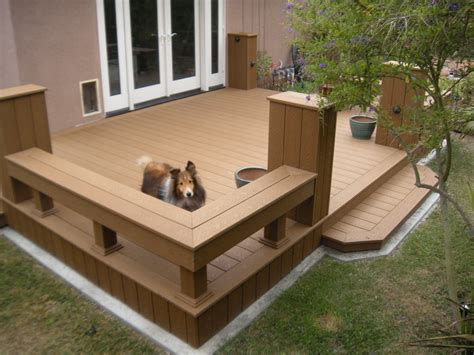 trex bench plans trex deck built for murphy the dog to safely exit his dog