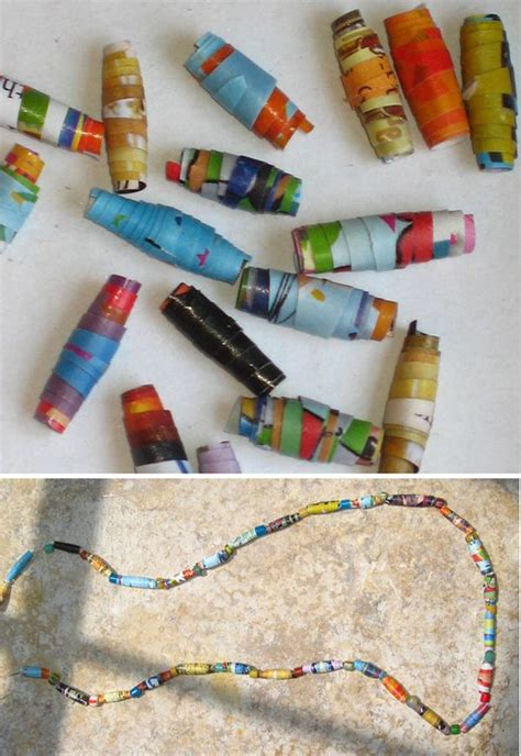 Rolled Paper Craft - recycling crafts rolled paper and necklaces