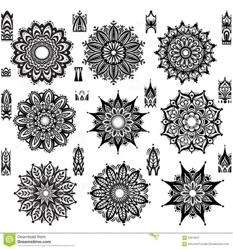 brush with pattern set of round ornament pattern with brush stock photo