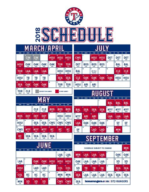printable rangers schedule texas rangers 2018 schedule news talk sports 710am 97 5fm