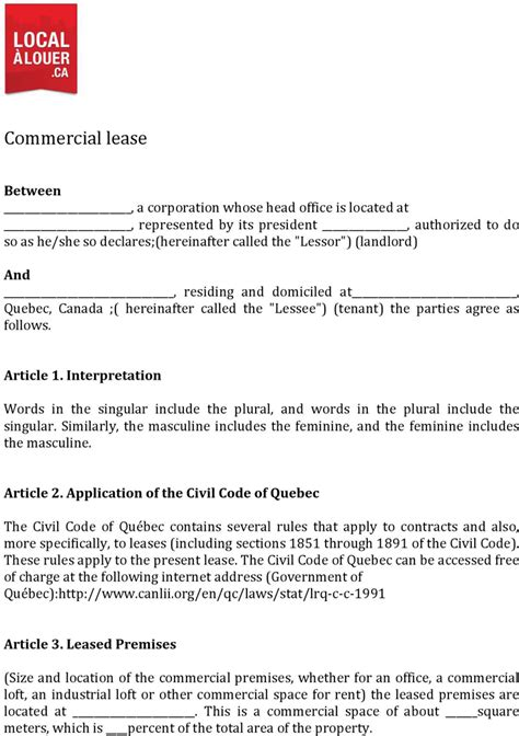 download quebec commercial lease agreement form for free