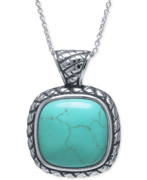 Square Pendant Necklace lyst macy s manufactured turquoise square pendant