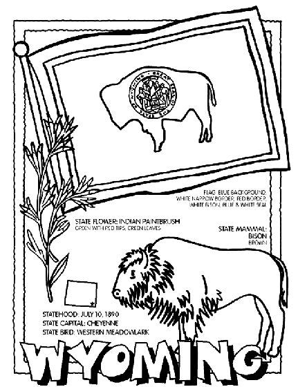 wyoming coloring page road trip kids pinterest other