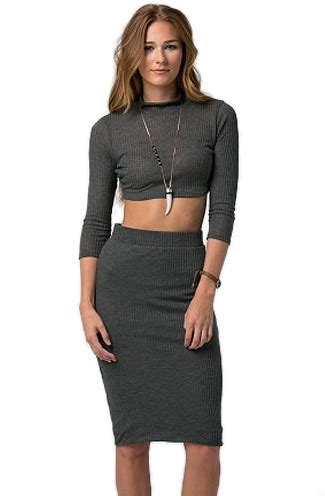 ribbed crop top and pencil skirt set in charcoal