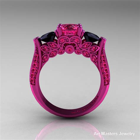 classic  pink gold  stone pink sapphire black