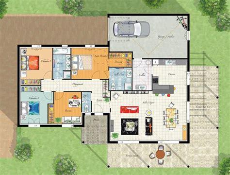 plan villa plain pied 4 chambres modele maison villa thalia cgie plans maisons
