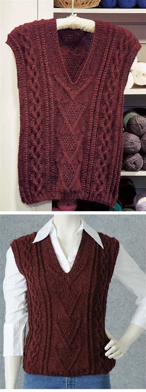 patternworks knitting cabled vest knitting pattern sweater and tops knitting
