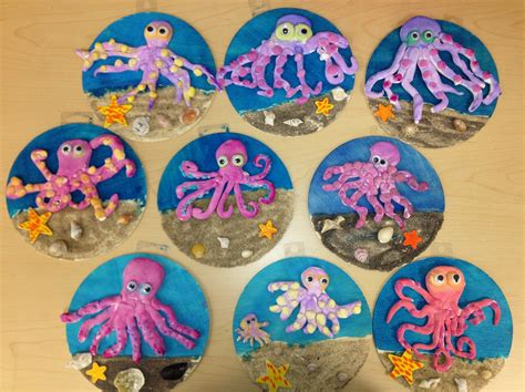 crafts for elementary students clay octopus on wood w sand elementary v