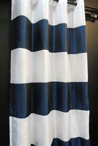 How To Make A Beaded Curtain Cj114 143 White Navy Blue Stripe Shiny Taffeta Curtain X 1