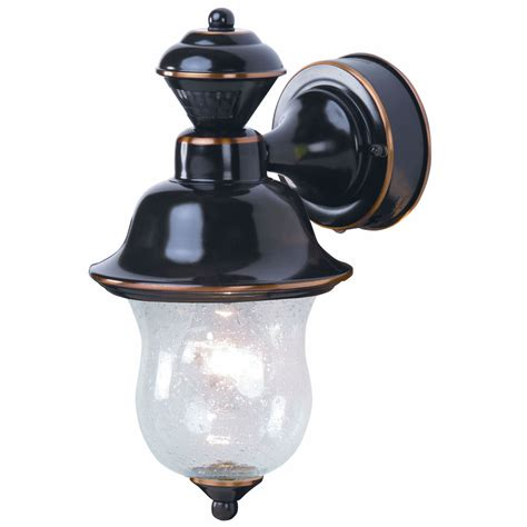 Outdoor Motion Activated Lights Shop Heath Zenith 14 In H Antique Copper Motion Activated Outdoor Wall Light At Lowes