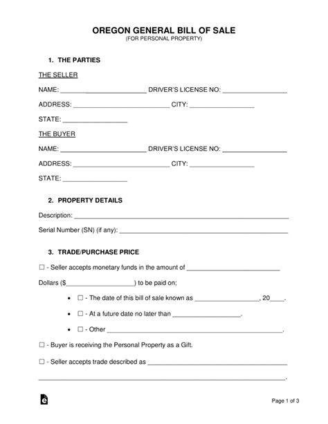 Free Oregon General Bill Of Sale Form Word Pdf Eforms Free Fillable Forms Bill Of Sale Template Oregon