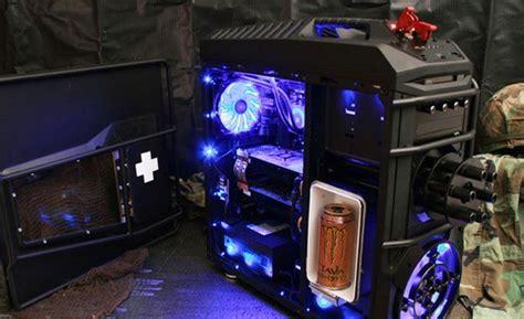 top mod game pc battlefield 3 pc case mod features chain gun and drinks fridge