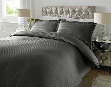 Duvet Size Hotel Quality Luxury Satin Stripe Duvet Cover Single