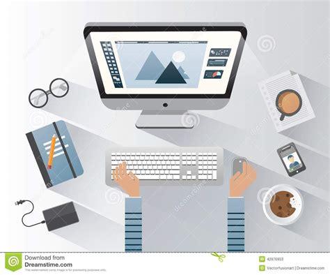 Computer Desk Background Designer Working On Computer At Desk Stock Vector Image 42976953